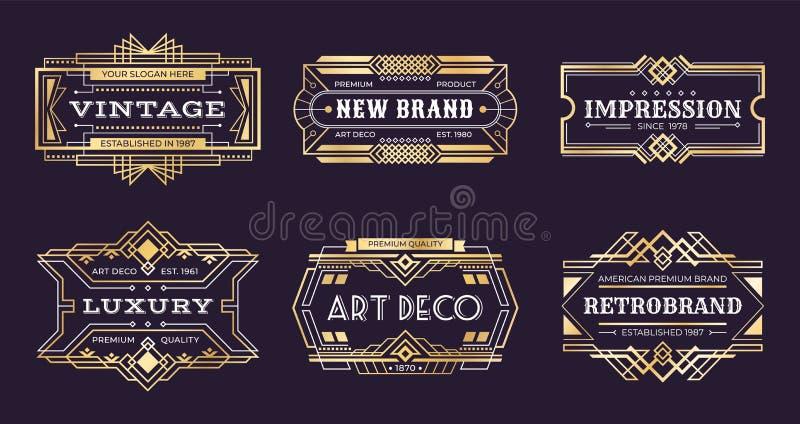 Ярлыки стиля Арт Деко Винтажные орнаментальные логотипы, значок 1920s винтажный золотой, знамена nouveau декоративные Стиль Арт Д иллюстрация штока