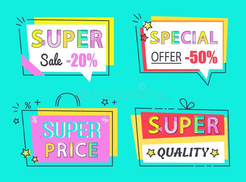 Ярлыки супер продажи специального предложения установленные высококачественные иллюстрация штока