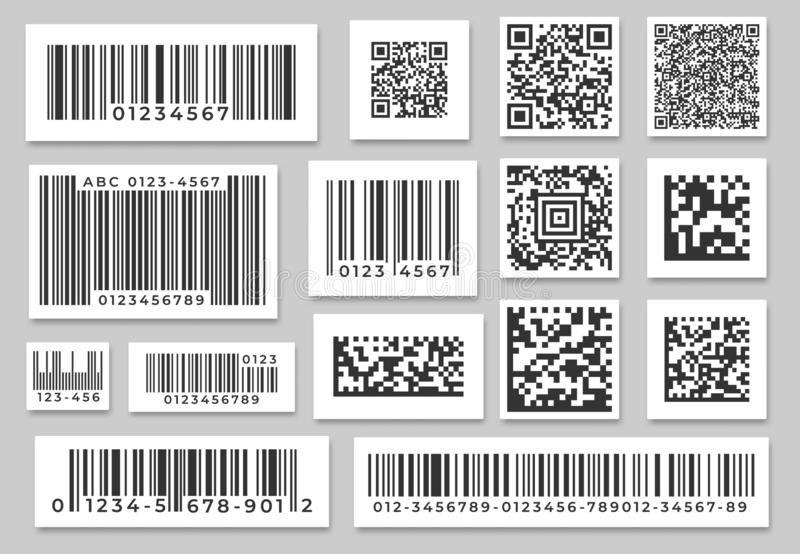 Ярлыки штрихкода Стикер нашивок кода, цифровой ярлык бара и бары установления цены в розницу обозначая стикеры Промышленные штрих иллюстрация вектора