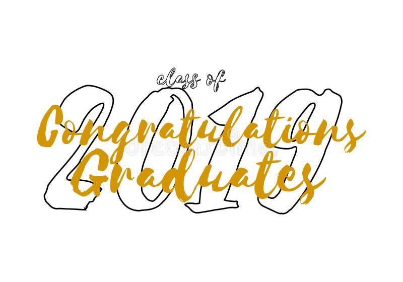 Ярлык градации Текст вектора для дизайна градации, события поздравлению, партии, средней школы или выпускника колледжа бесплатная иллюстрация