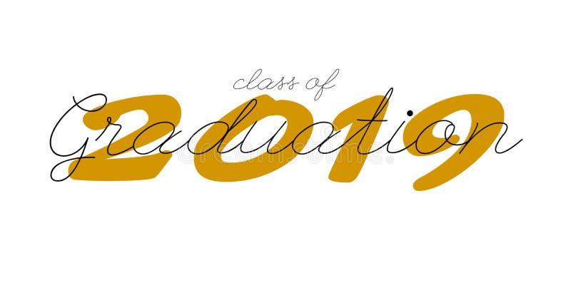 Ярлык градации Текст вектора для дизайна градации, события поздравлению, партии, средней школы или выпускника колледжа иллюстрация штока