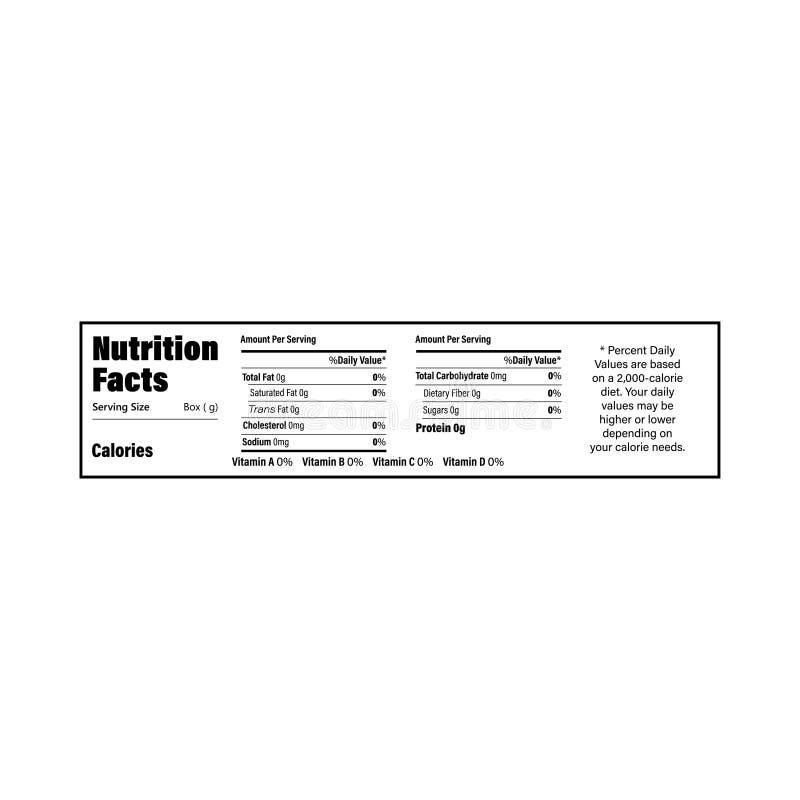 Ярлык данным по фактов питания для коробки Ежедневные калории, холестерол и сала ингридиента значения в граммах и процентах иллюстрация штока