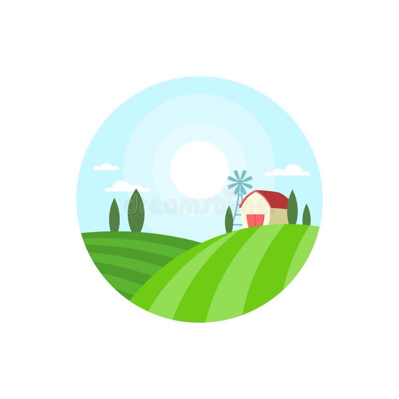 Ярлык дома фермы круглый стоковая фотография rf