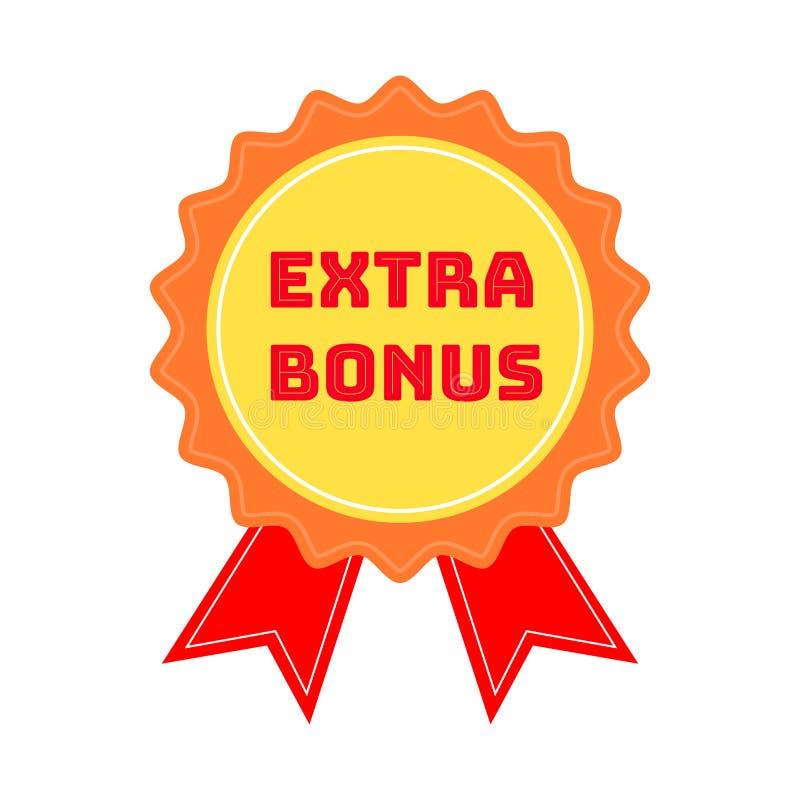 Ярлык или значок с бонусом текста дополнительным изолированные на белой предпосылке Супер штемпель бонуса также вектор иллюстраци иллюстрация вектора