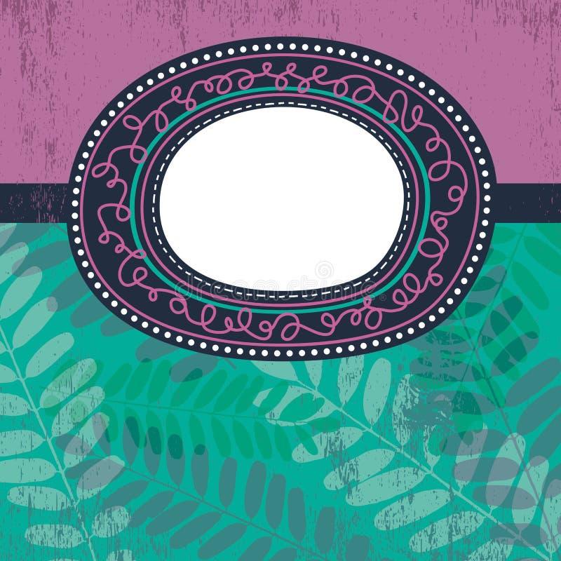 ярлык круга предпосылки флористический над вектором иллюстрация вектора