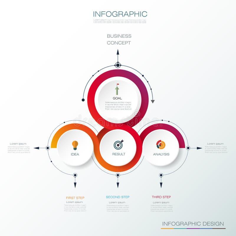Ярлык круга infographics 3D вектора с стрелками подписывает и вариант 3 иллюстрация штока