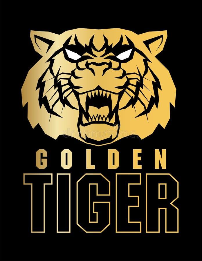 Ярлык логотипа стороны тигра вектора сердитый иллюстрация вектора