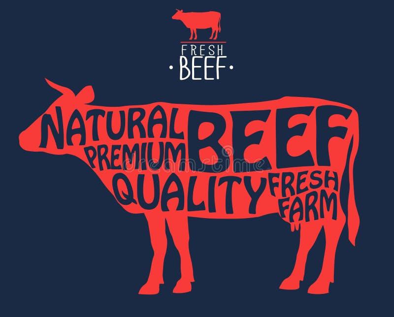 Ярлык мясной лавки Значок с коровой Печать свежей говядины винтажная Мяс палачества вектор бесплатная иллюстрация