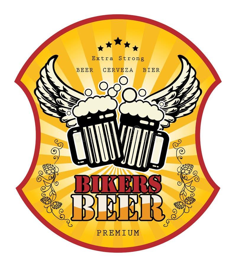 Ярлык пива велосипедистов иллюстрация вектора