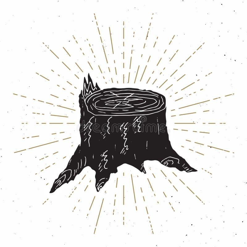 Ярлык пня дерева винтажный, рука нарисованный эскиз, grunge текстурировал ретро значок, печать футболки дизайна оформления, иллюс бесплатная иллюстрация