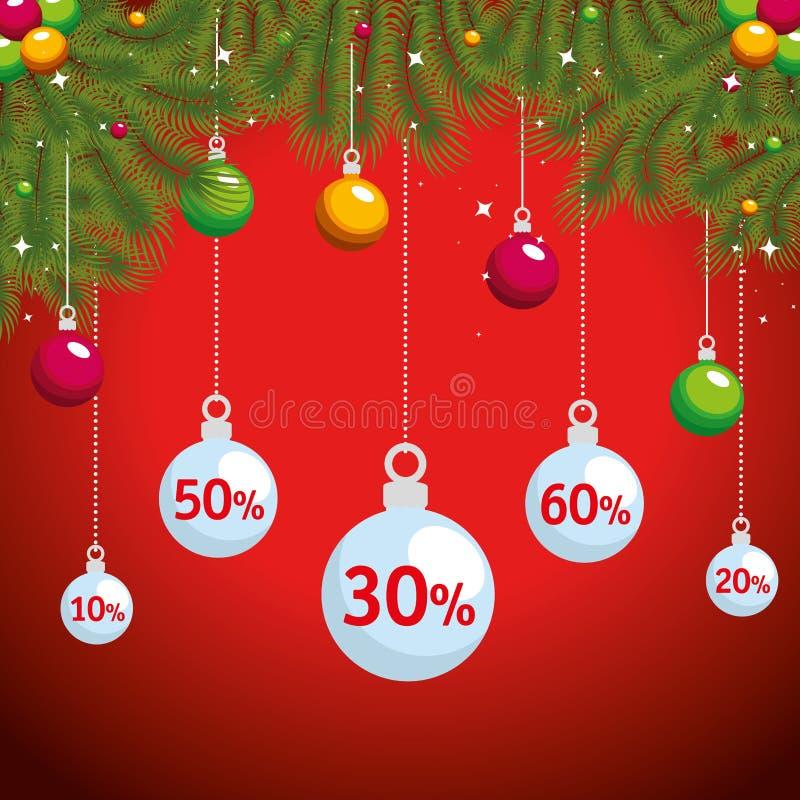 Ярлык продажи рождества с гирляндами и шариками иллюстрация штока