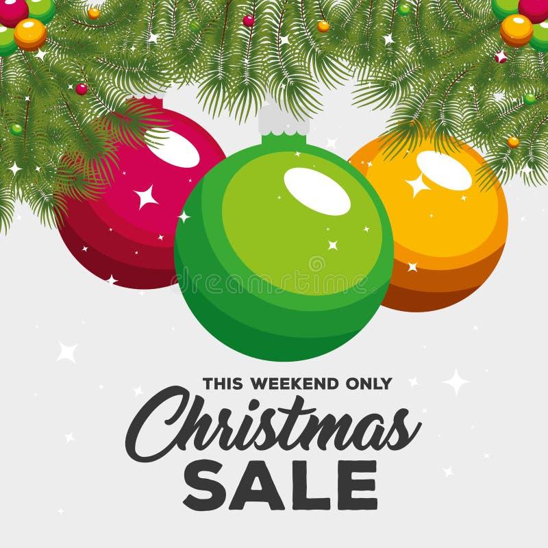 Ярлык продажи рождества с гирляндами и шариками бесплатная иллюстрация