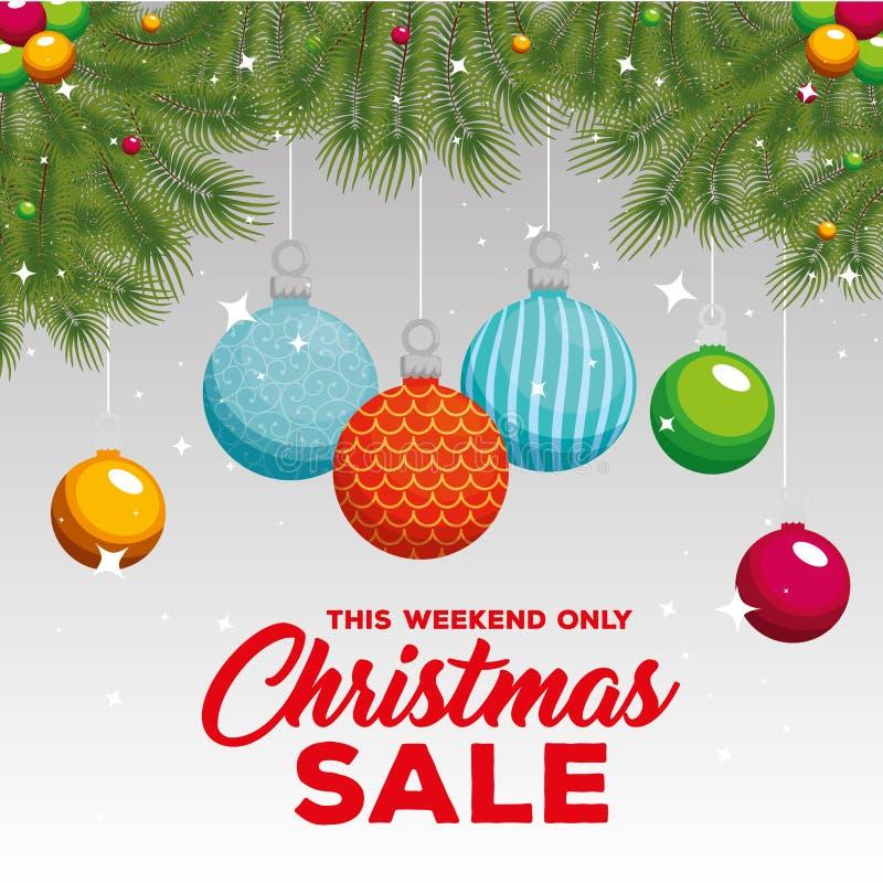 Ярлык продажи рождества с гирляндами и шариками иллюстрация вектора