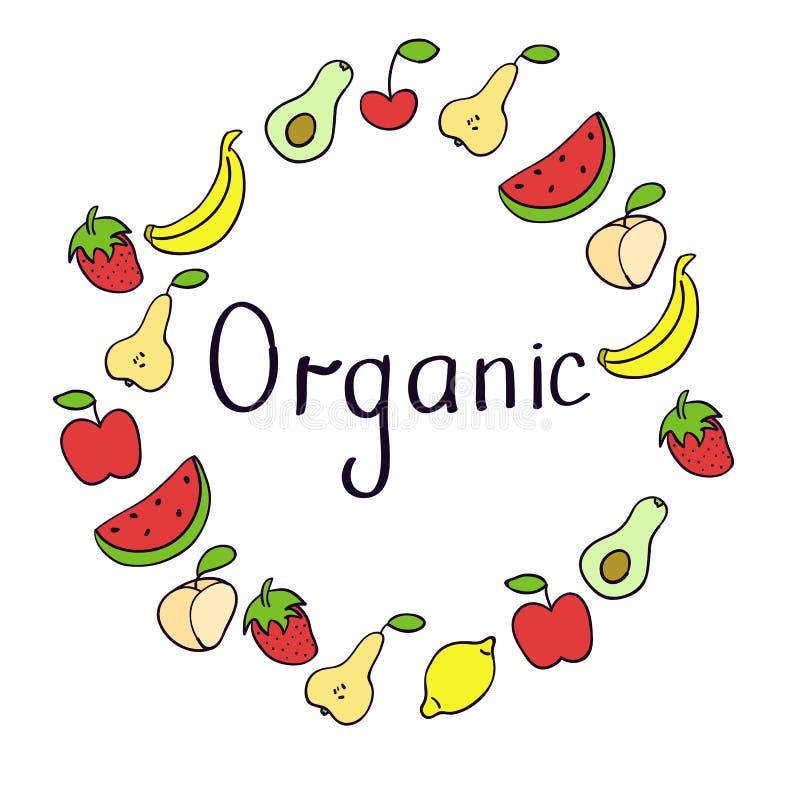 Ярлык продукта Vegan День vegan мира Рамка руки вычерченная деревенская с плодами Дизайн оформления vegan иллюстрация штока