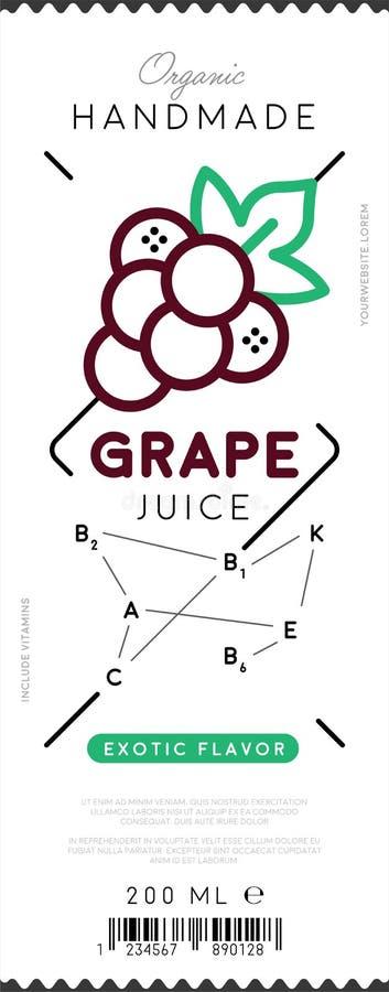 Ярлык сока виноградины в ультрамодном линейном стиле иллюстрация штока
