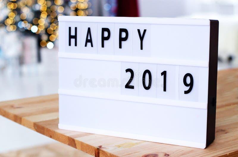 Ярлык с год надписи счастливым 2019 стоковое фото