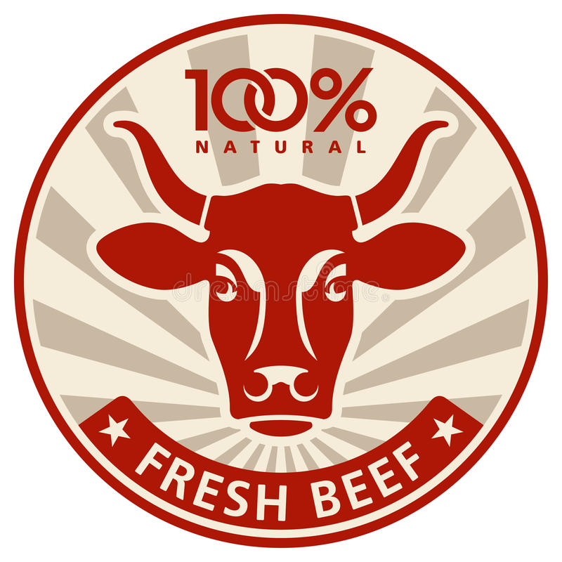 Ярлык с головкой коровы бесплатная иллюстрация
