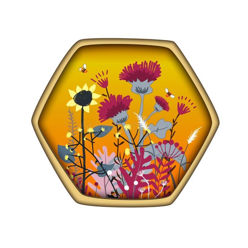 Ярлык формы шестиугольника с милыми цветками и пчелами луга меда r Концепция меда злаковика для печатей бесплатная иллюстрация