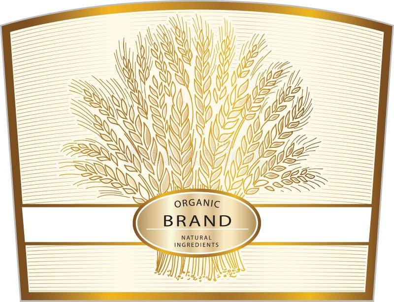 Ярлык хлопьев ингридиентов органического бренда естественные, значок бренда или lo иллюстрация вектора