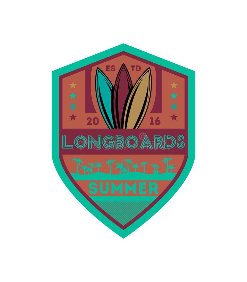 Ярлык чемпионата Longboards занимаясь серфингом винтажный иллюстрация вектора