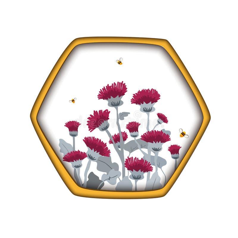 Ярлык шаблона вектора с thistles и пчелами притяжки руки в гребне меда шестиугольника Дизайн для ярлыков меда, косметик ходит по  иллюстрация штока