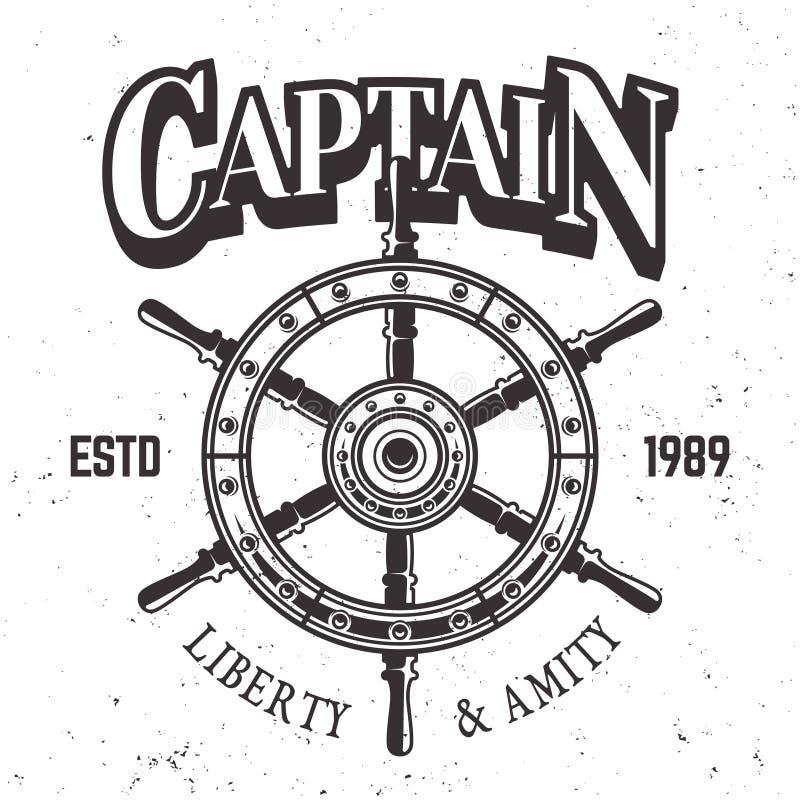 Ярлык, эмблема или печать колеса корабля капитана винтажный бесплатная иллюстрация