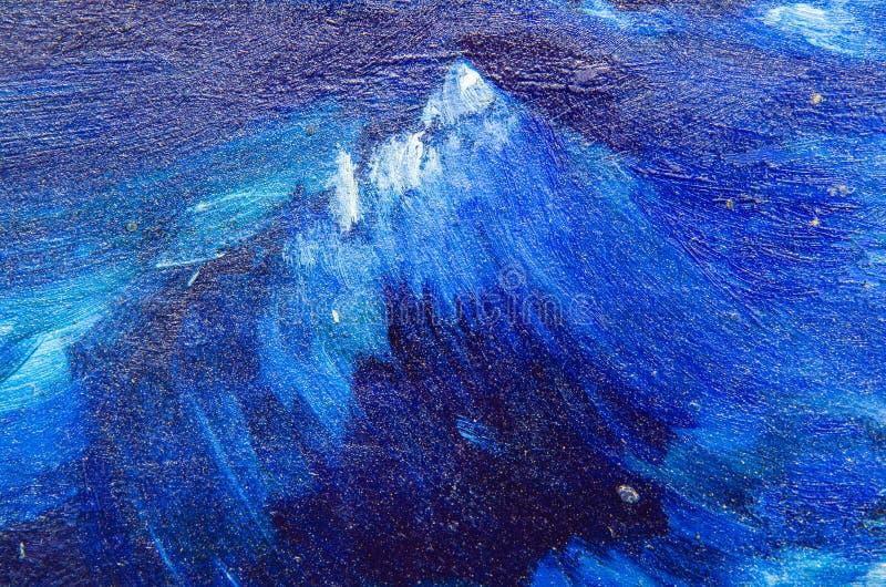 Яростные волны, покрашенные на холсте иллюстрация вектора