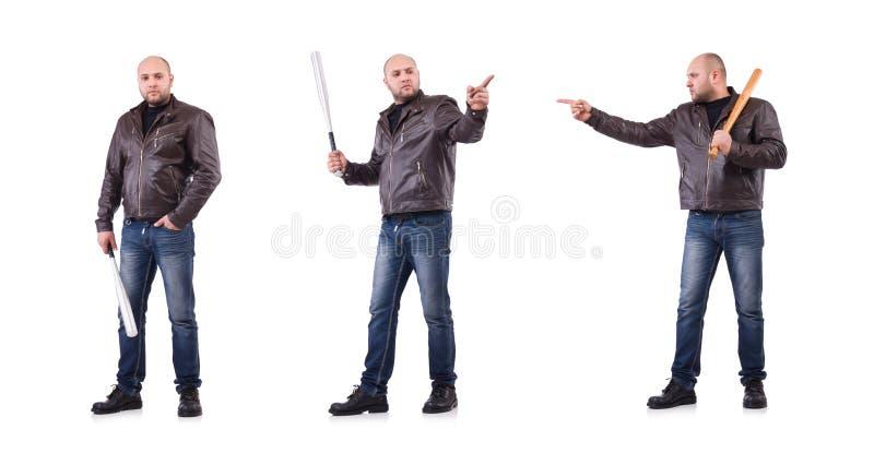 Яростный человек с бейсбольной битой на белизне стоковое изображение