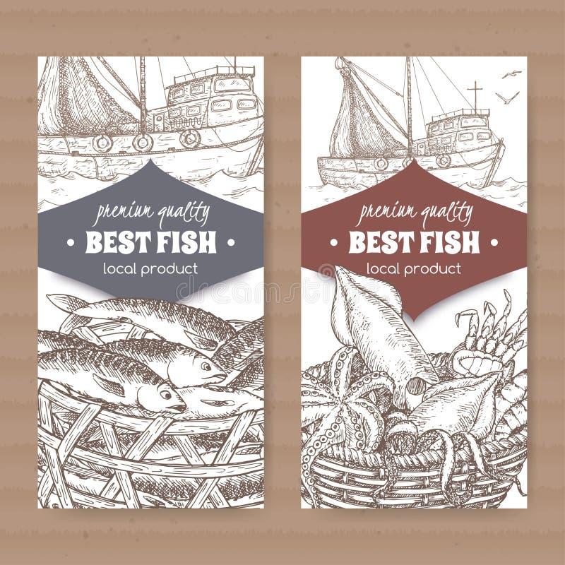 2 ярлыка с корзиной рыбацкой лодки, рыб и морепродуктов на белой предпосылке иллюстрация вектора