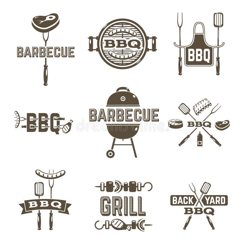 Ярлыки барбекю и гриля бесплатная иллюстрация