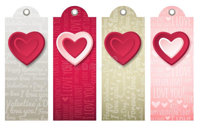 Ярлыки валентинок с декоративными сердцами, вектором бесплатная иллюстрация