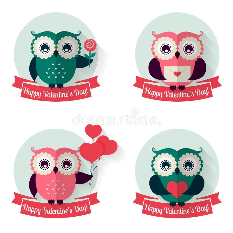 Ярлыки валентинок с сычами и лентами вектор комплекта сердец шаржа приполюсный иллюстрация штока