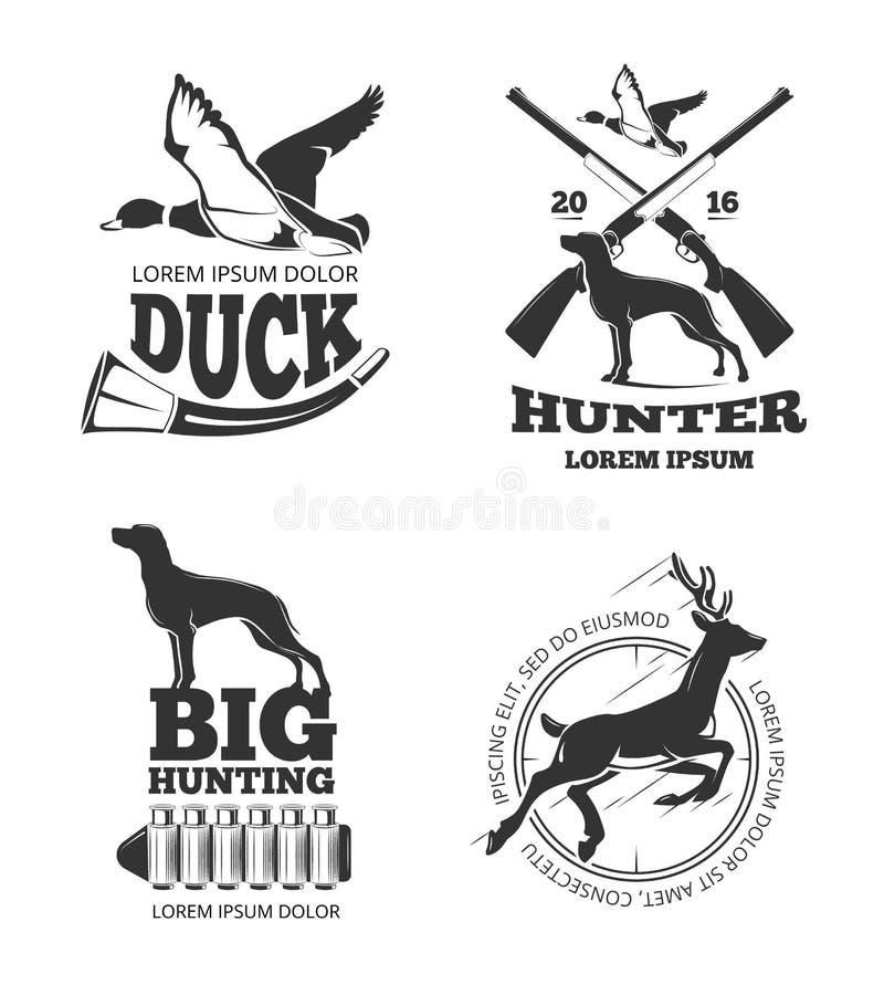 Ярлыки вектора клуба звероловства винтажные, эмблемы, логотипы, установленные значки иллюстрация вектора
