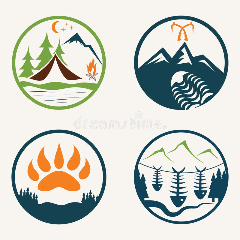 Ярлыки летнего лагеря иллюстрация штока