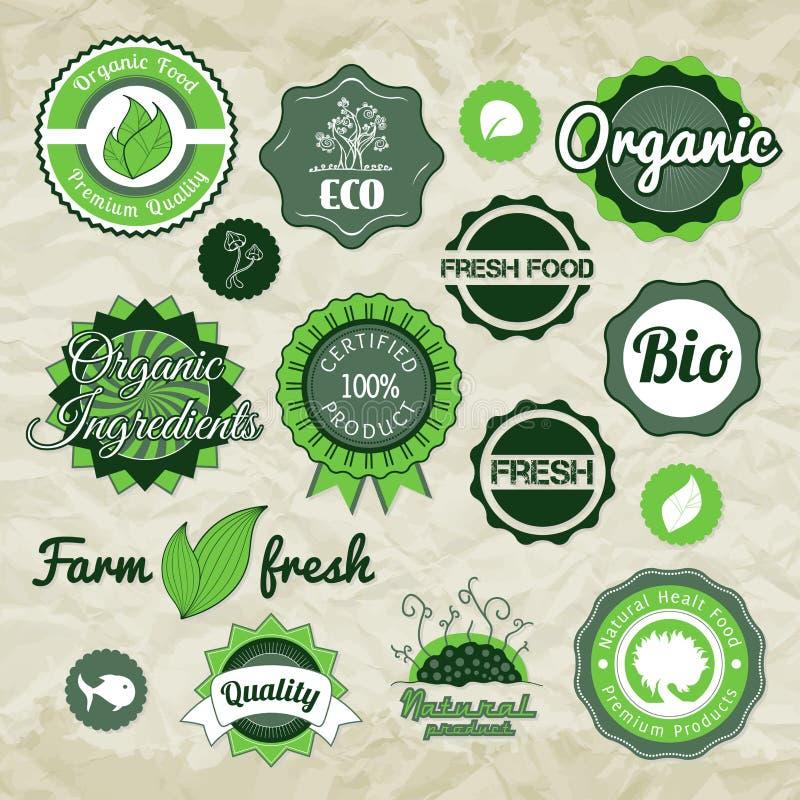 Ярлыки, значки и значки вектора собрания зеленые иллюстрация штока