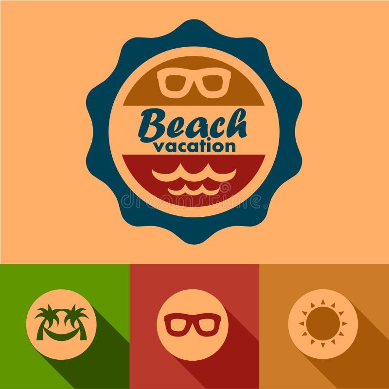 Ярлыки каникул пляжа иллюстрация штока