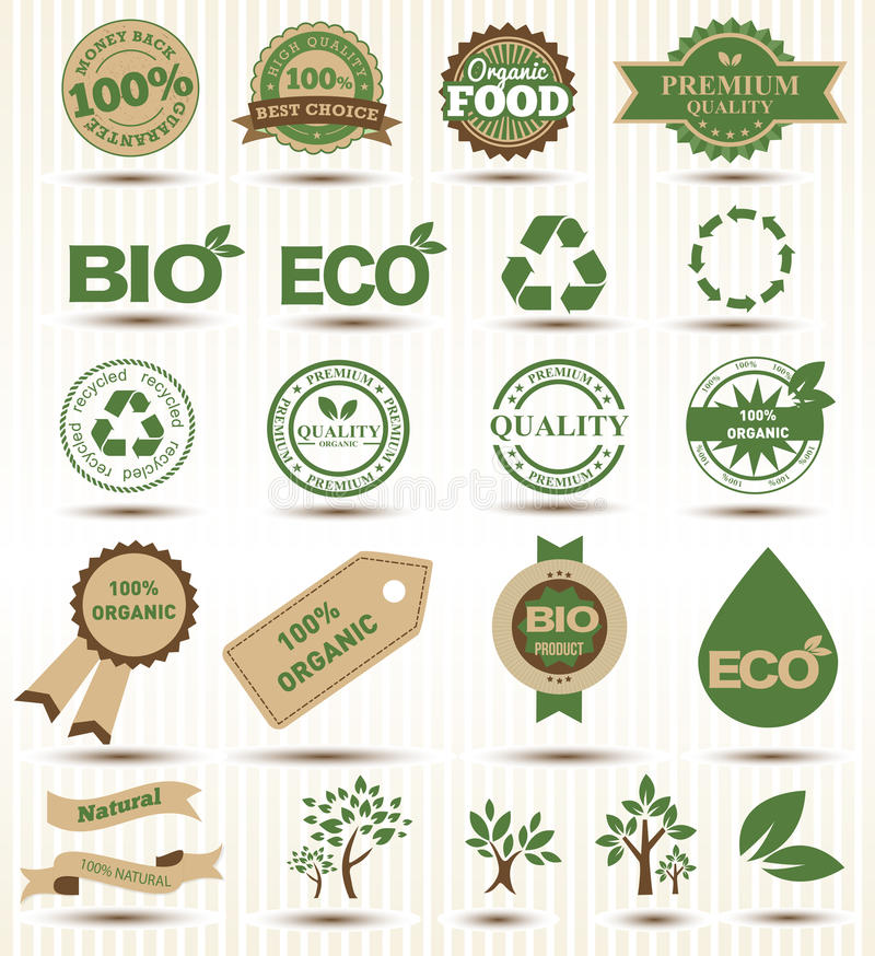 Ярлыки комплекта и эмблемы экологичности и окружающей среды иллюстрация вектора