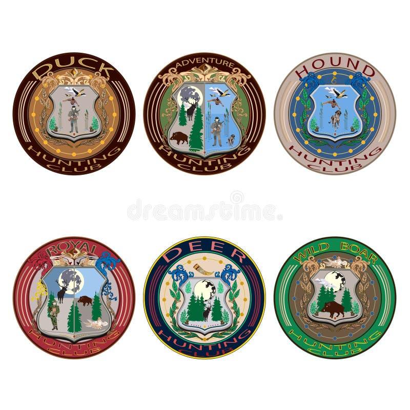 Ярлыки клуба звероловства вектора, значки и комплект квартиры логотипов иллюстрация вектора