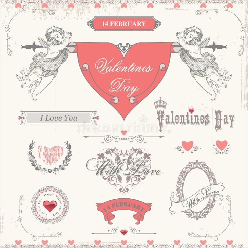 Ярлыки дня валентинок, собрание элементов значков иллюстрация штока