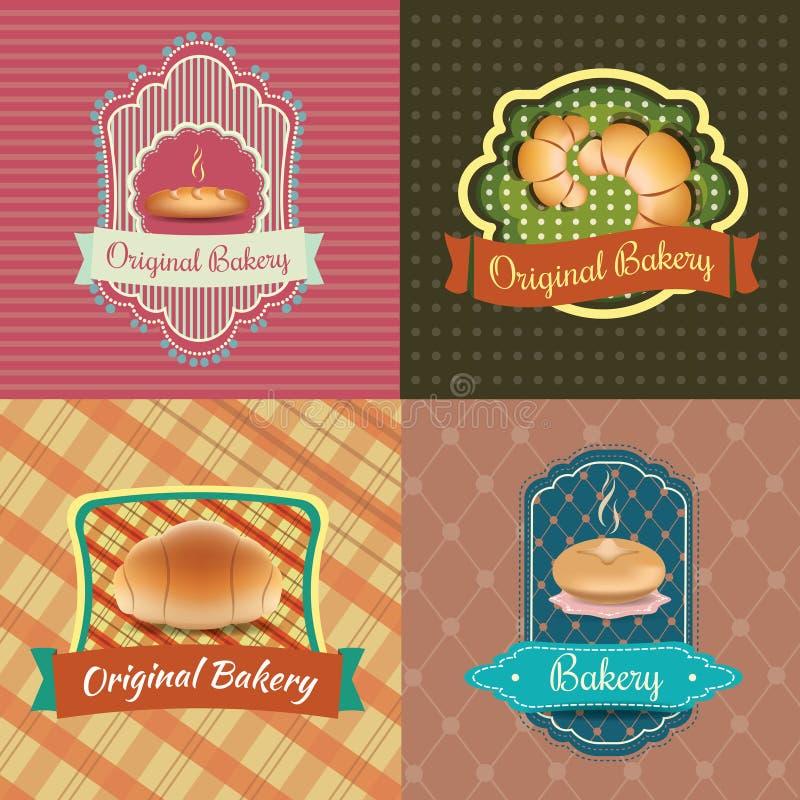 Ярлыки логотипа хлебопекарни винтажные ретро стоковые фотографии rf