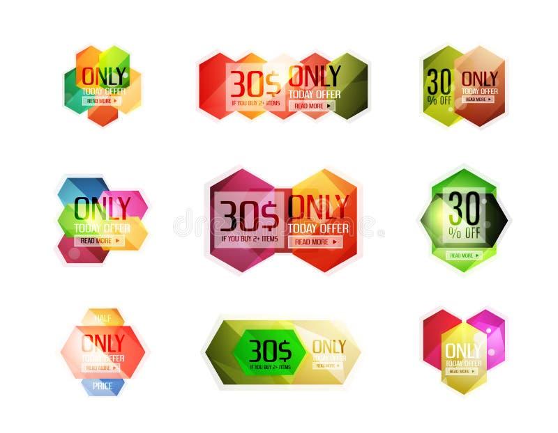 Download Ярлыки продажи вектора абстрактные геометрические Иллюстрация вектора - иллюстрации насчитывающей проценты, уговариваний: 81805454