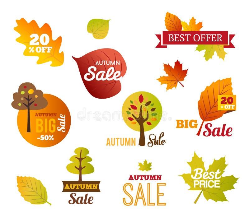 Ярлыки продаж осени - стикеры иллюстрация штока