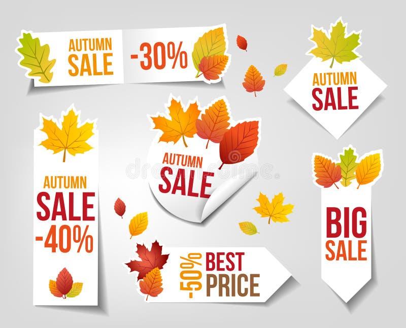 Ярлыки продаж осени бесплатная иллюстрация