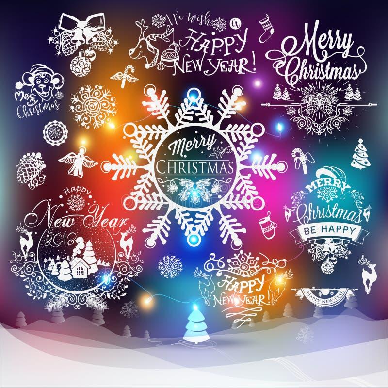 Ярлыки рождества и Нового Года иллюстрация штока