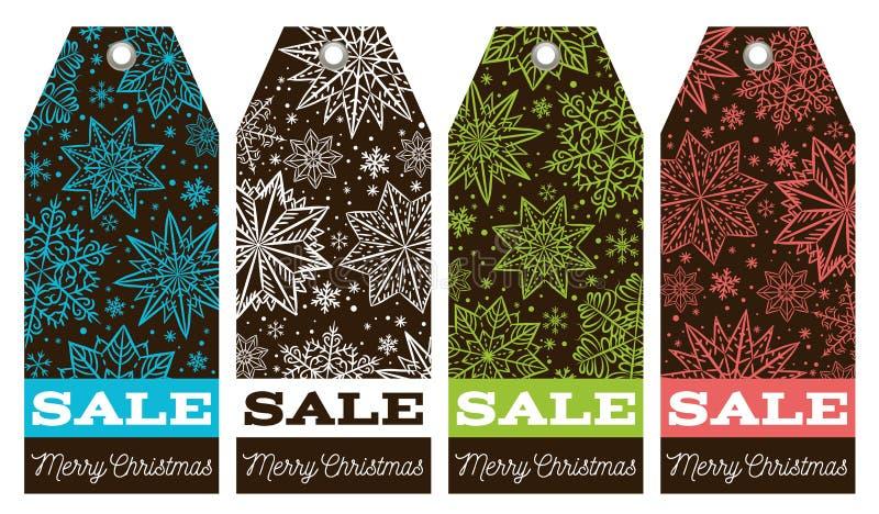 Ярлыки рождества с звездами, снежинками и продажей предлагают, vector иллюстрация вектора