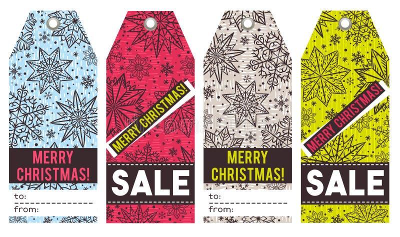 Ярлыки рождества с звездами, снежинками и продажей предлагают, vector иллюстрация штока