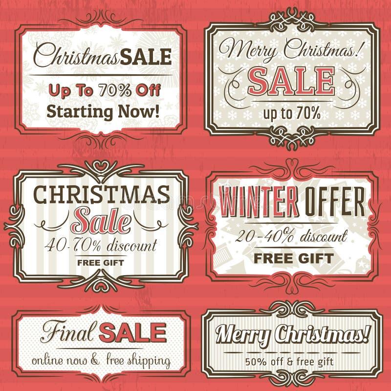 Ярлыки рождества с предложением продажи, вектором иллюстрация вектора