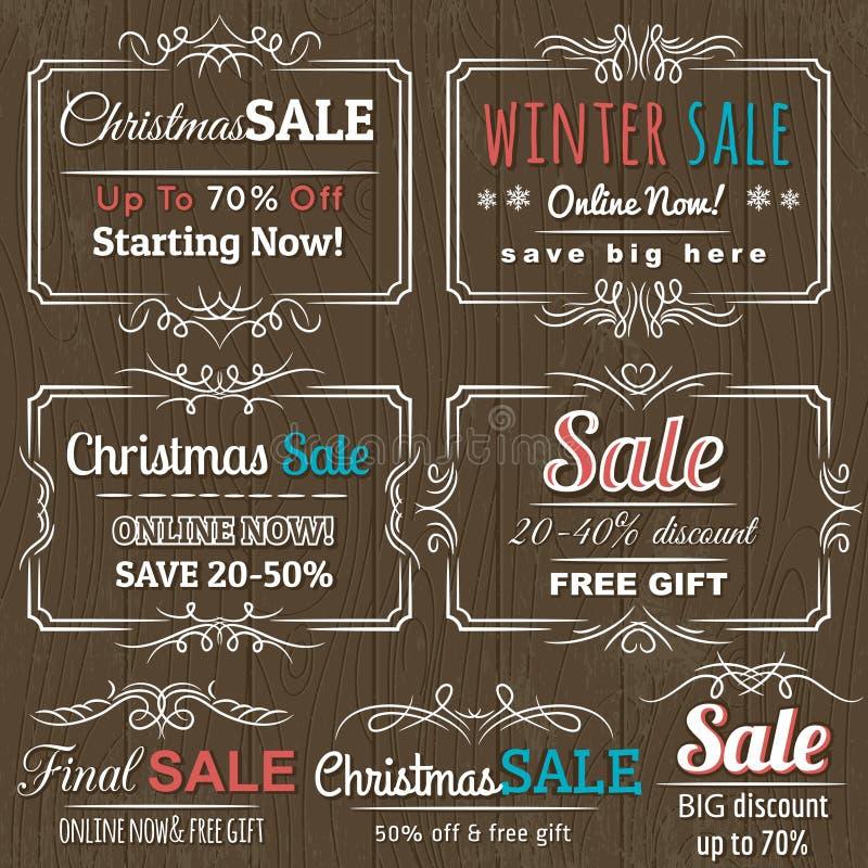 Ярлыки рождества с предложением продажи иллюстрация вектора
