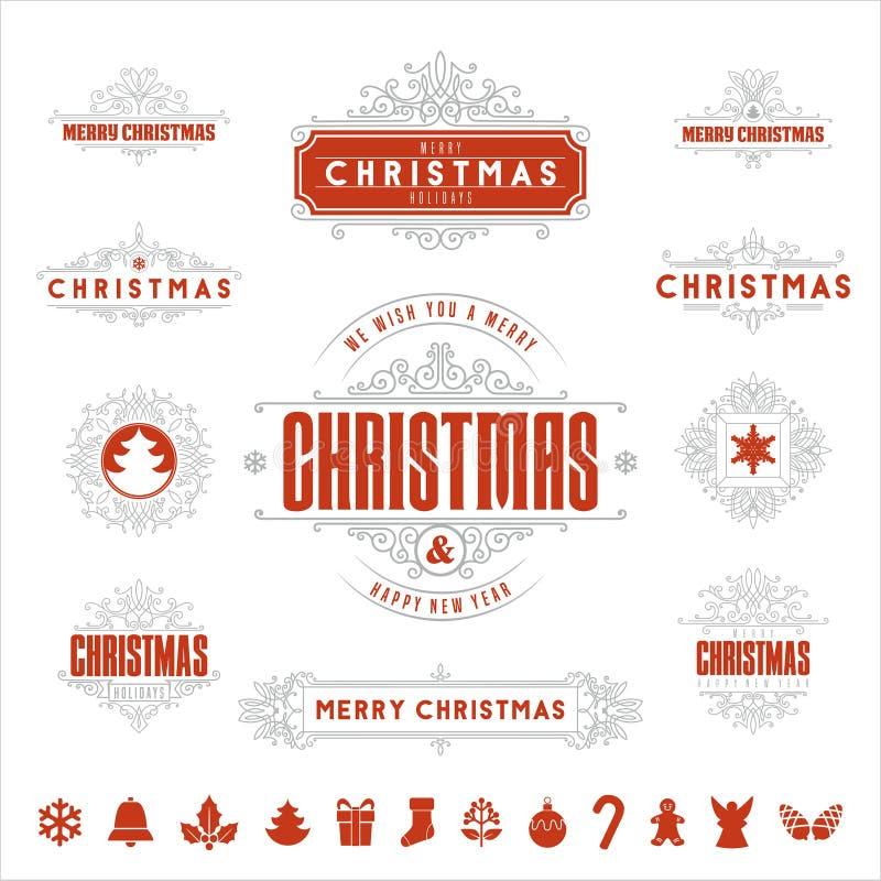 Ярлыки рождества типографские и каллиграфические винтажные, бесплатная иллюстрация