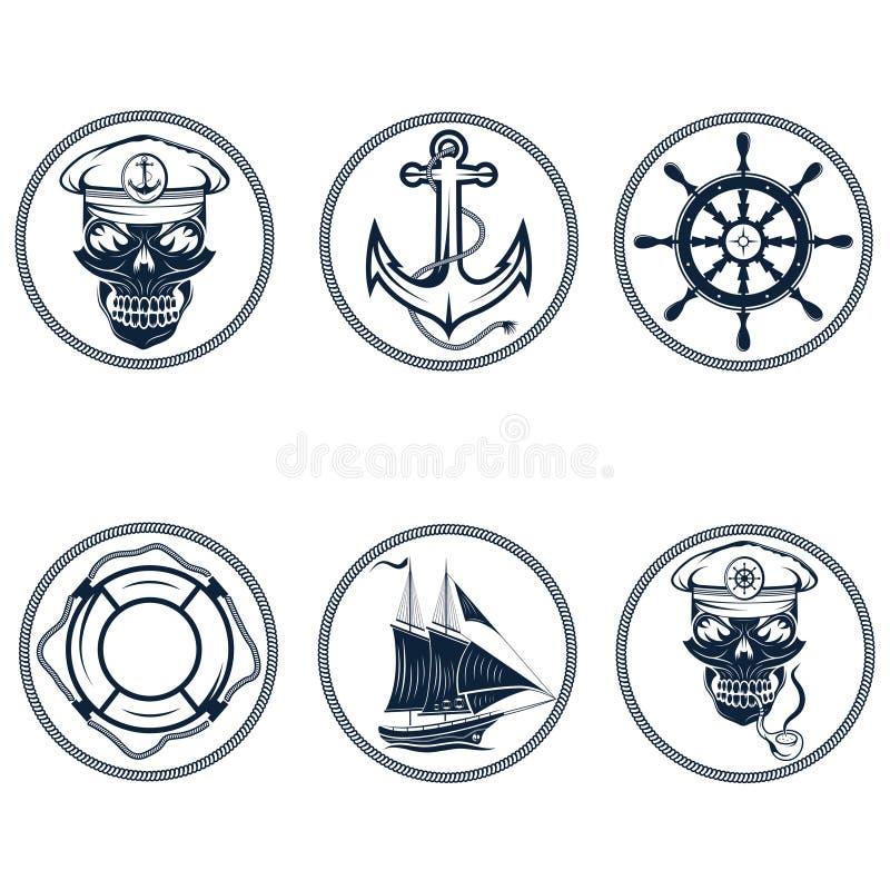 ярлыки с шлюпкой, черепом капитана, колесом, анкером и иллюстрация вектора